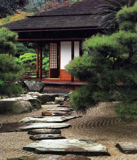Buddhist Ceremony Traditional Japanese Garden: A Traditional Japanese Architecture.