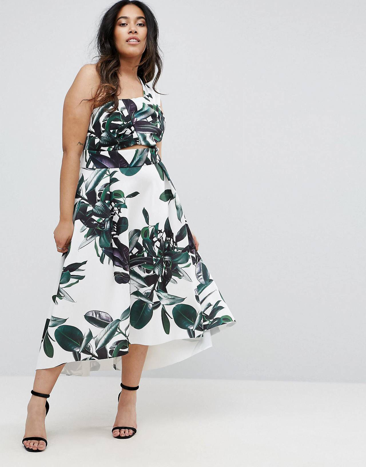 CURVE Palm Print One Shoulder Scuba Dip Back Prom Dress | Pinterest ...