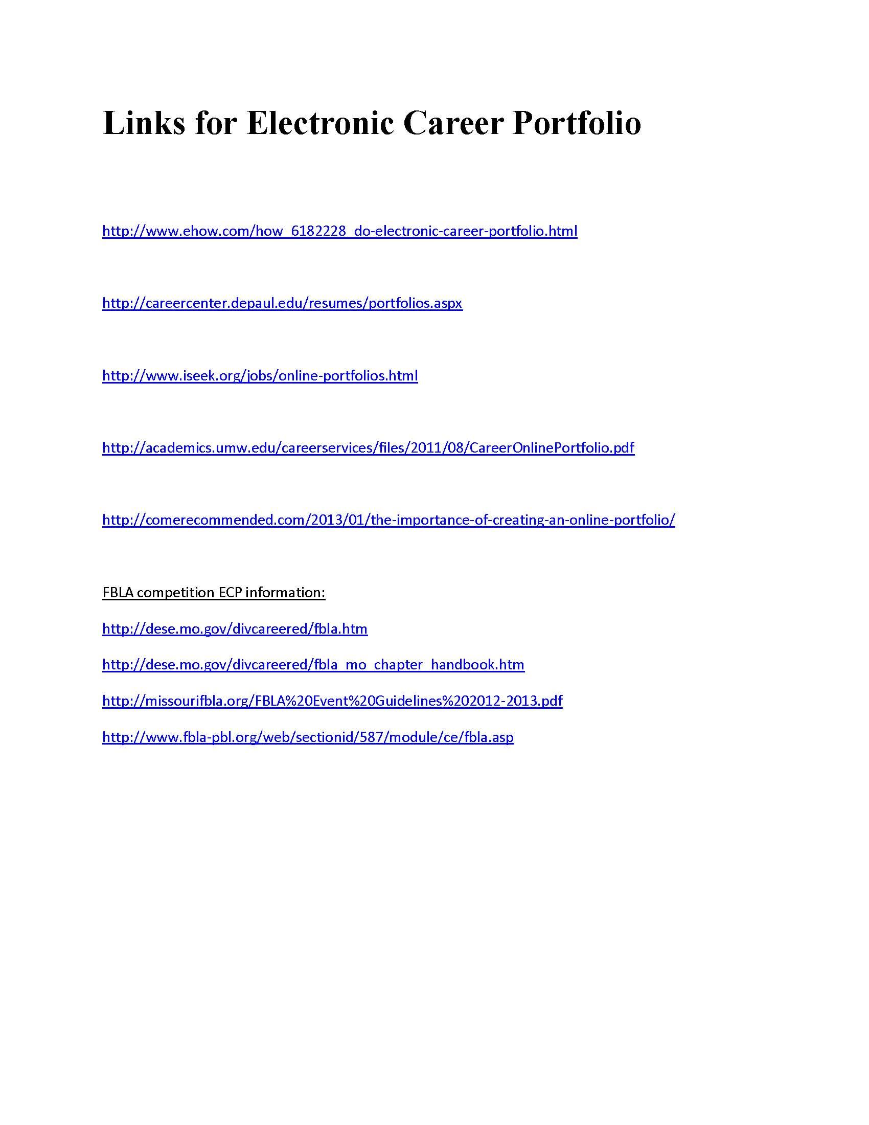 career portfolio examples sample business career portfolio links to help you create an electronic career portfolio