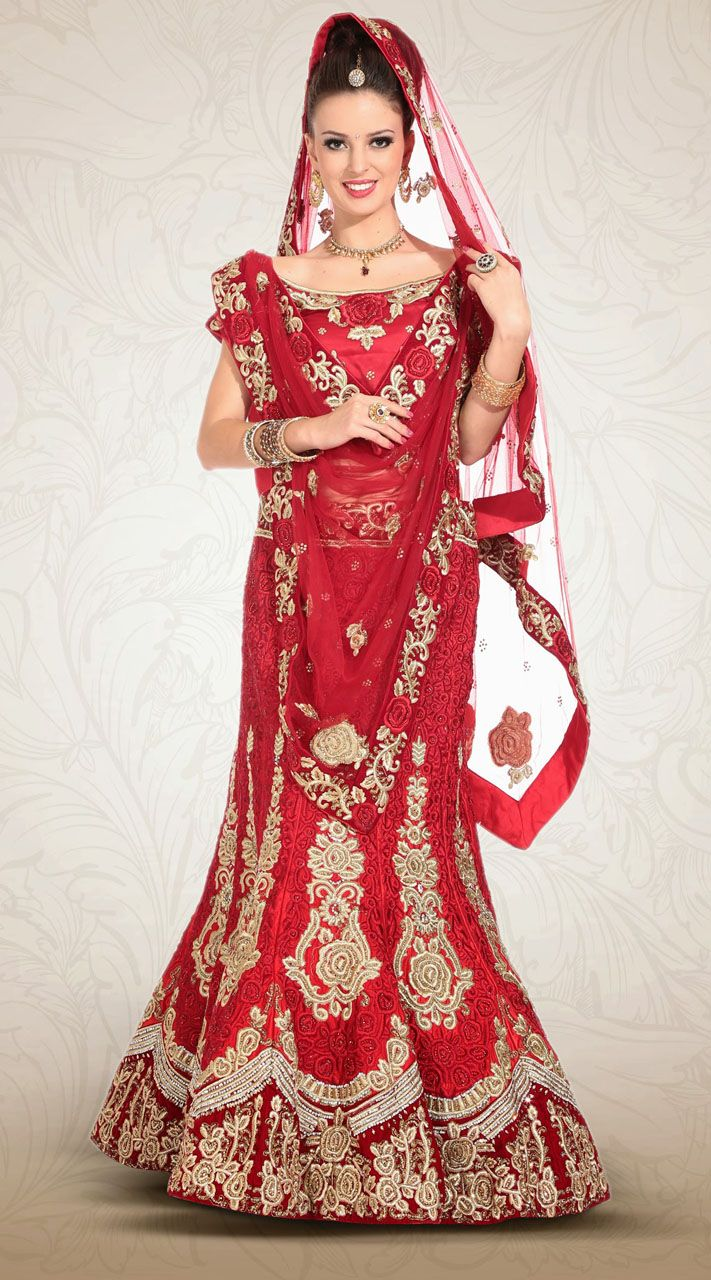 1515b0c39 This net lehenga choli in stylish red color with dupatta which is  beautified with embroidery work. It has heavy work of butt