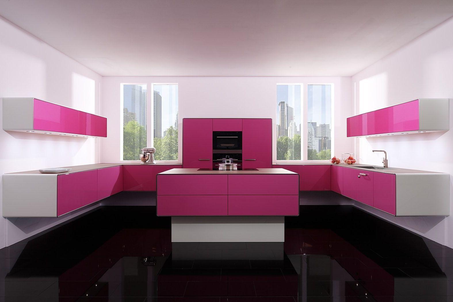 Kuche Pink Hochglanz Kuche Wandfarbe