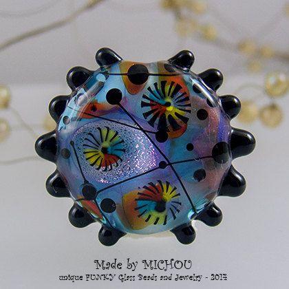Supernova Nr. 2  Art Glass  1 focal Perle von von michoudesign