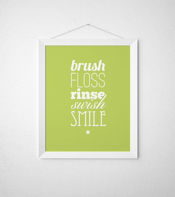 Kids Bathroom Art, Brush Floss, Kids Bathroom Wall Art, Restroom ...