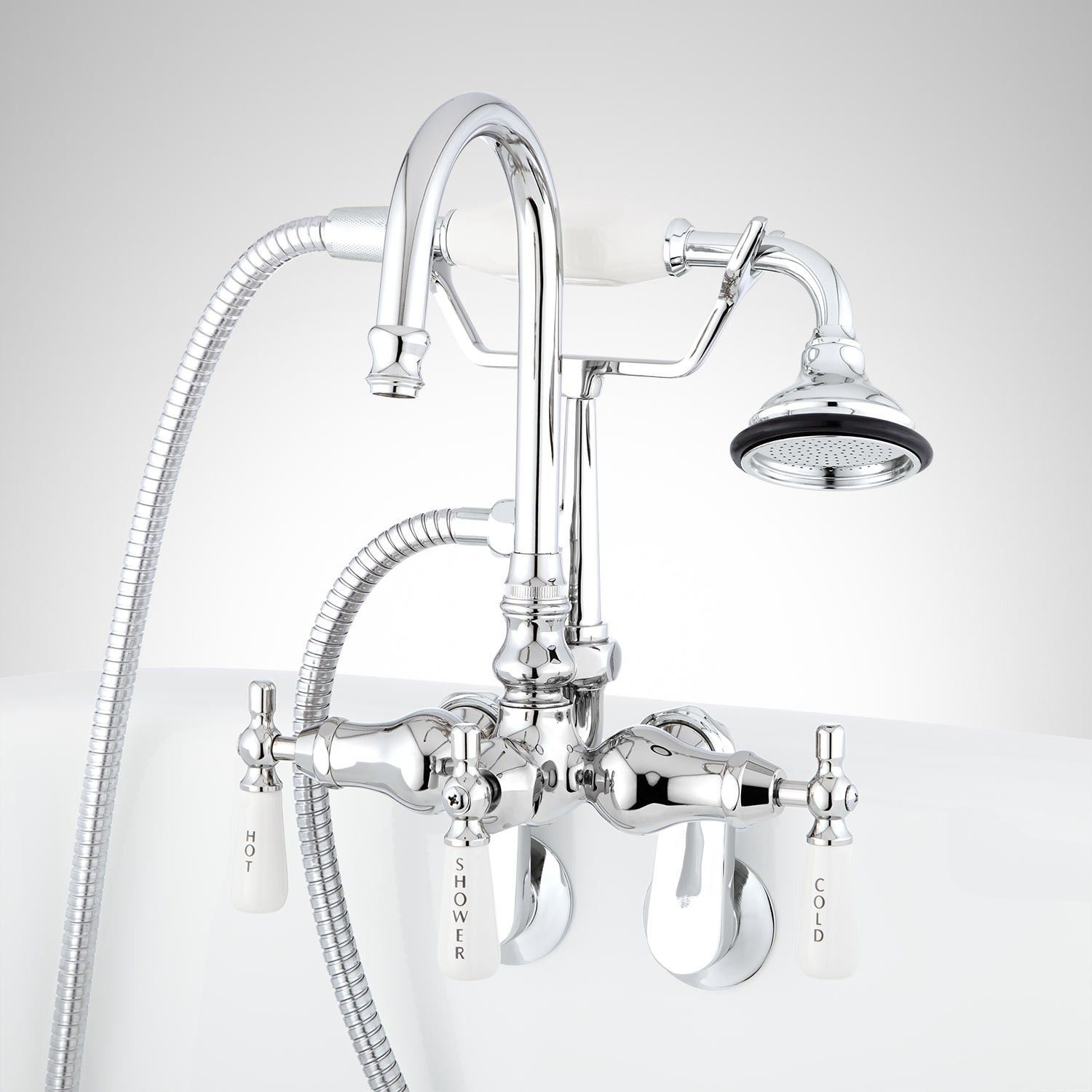 Gooseneck Tub Wall Mount Faucet And Hand Shower Master