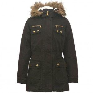 957d4463cc29 Yoki Big Girls Black Gold Snap Button Zipper Faux Fur Trim Hooded ...
