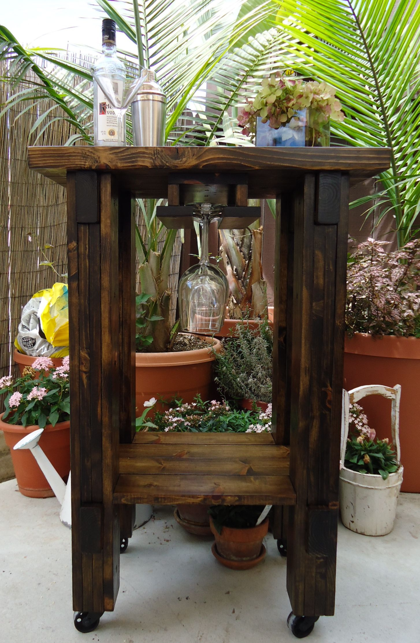 Rustic Rolling Bar Cart with Wine Glass Rack - SOLD | Home and ...