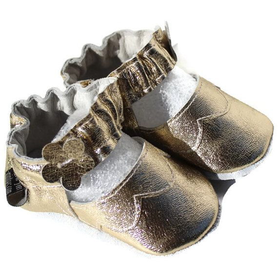 Soft sole leather BABY shoes Golden Mary Janes FREE by minitoes