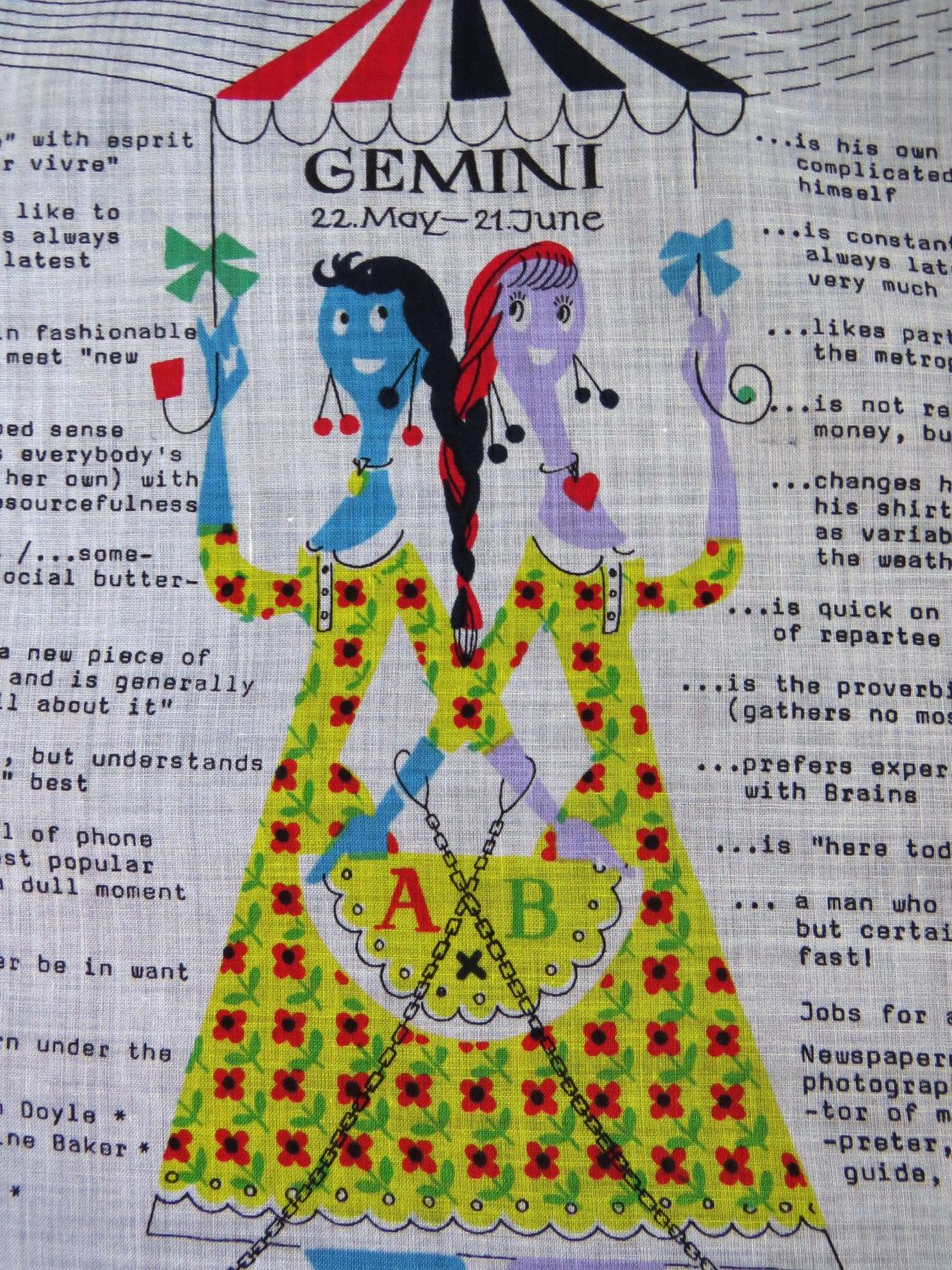 GEMINI Zodiac Sign Handkerchief