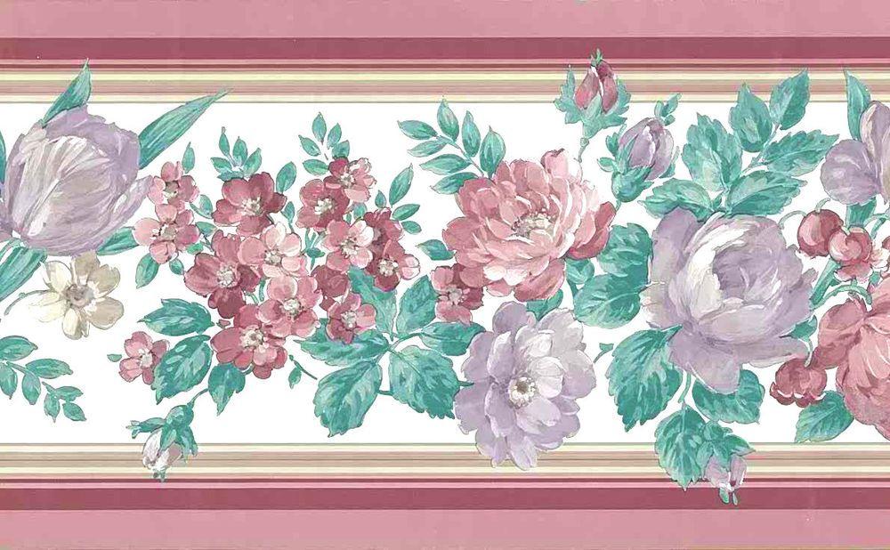 Rose Lavender Green Uk Floral Vintage Wallpaper Border English Country 1275b Unbranded En Floral Wallpaper Border Vintage Wallpaper Vintage Floral Wallpapers