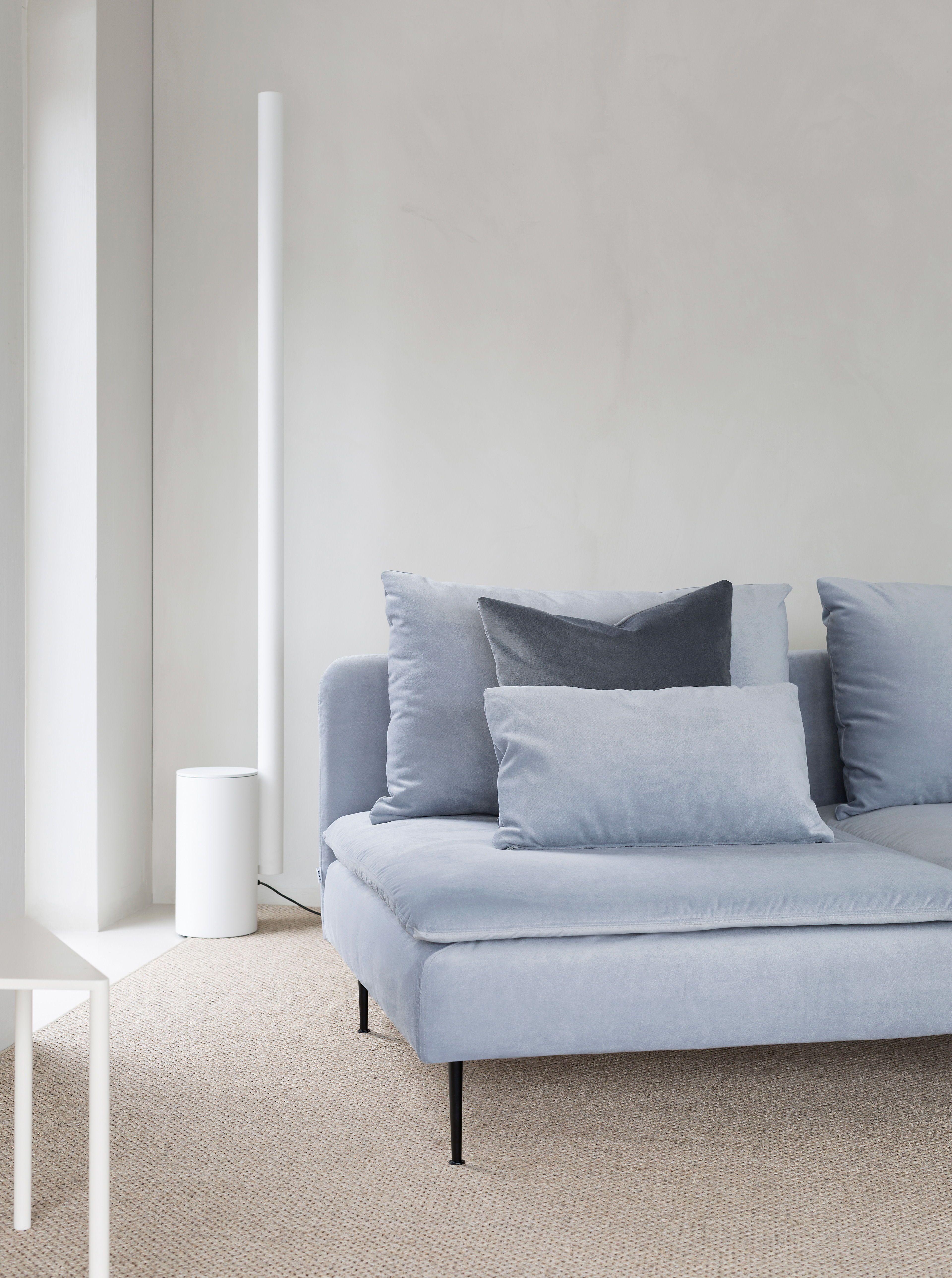 Minimalist Living Room Featuring A Grey Velvet Sofa White Floor Lamp Ikea Soderhamn So Minimalist Living Room Minimalist Living Room Design Minimalist Sofa