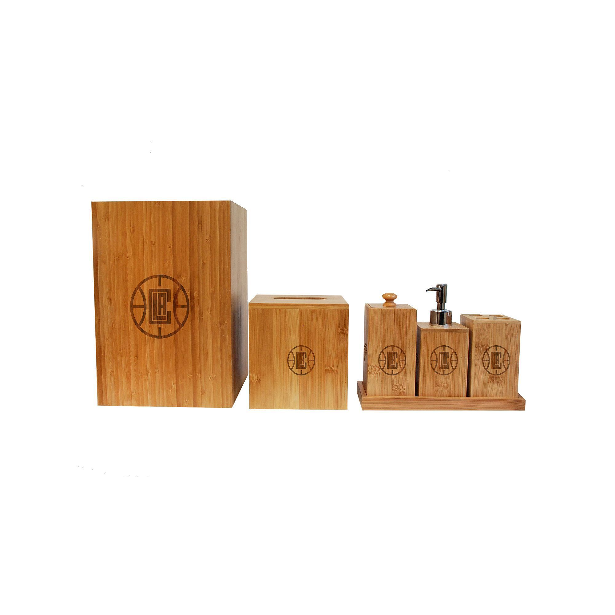 los angeles clippers 6 piece bamboo bathroom accessories set brown