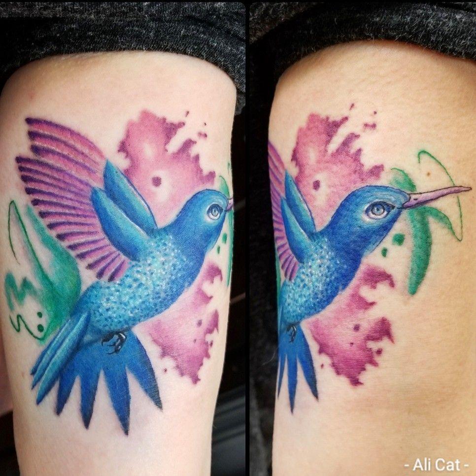 Tattoo By Alicat Tattoos Tattoo Near Me Watercolor Hummingbird