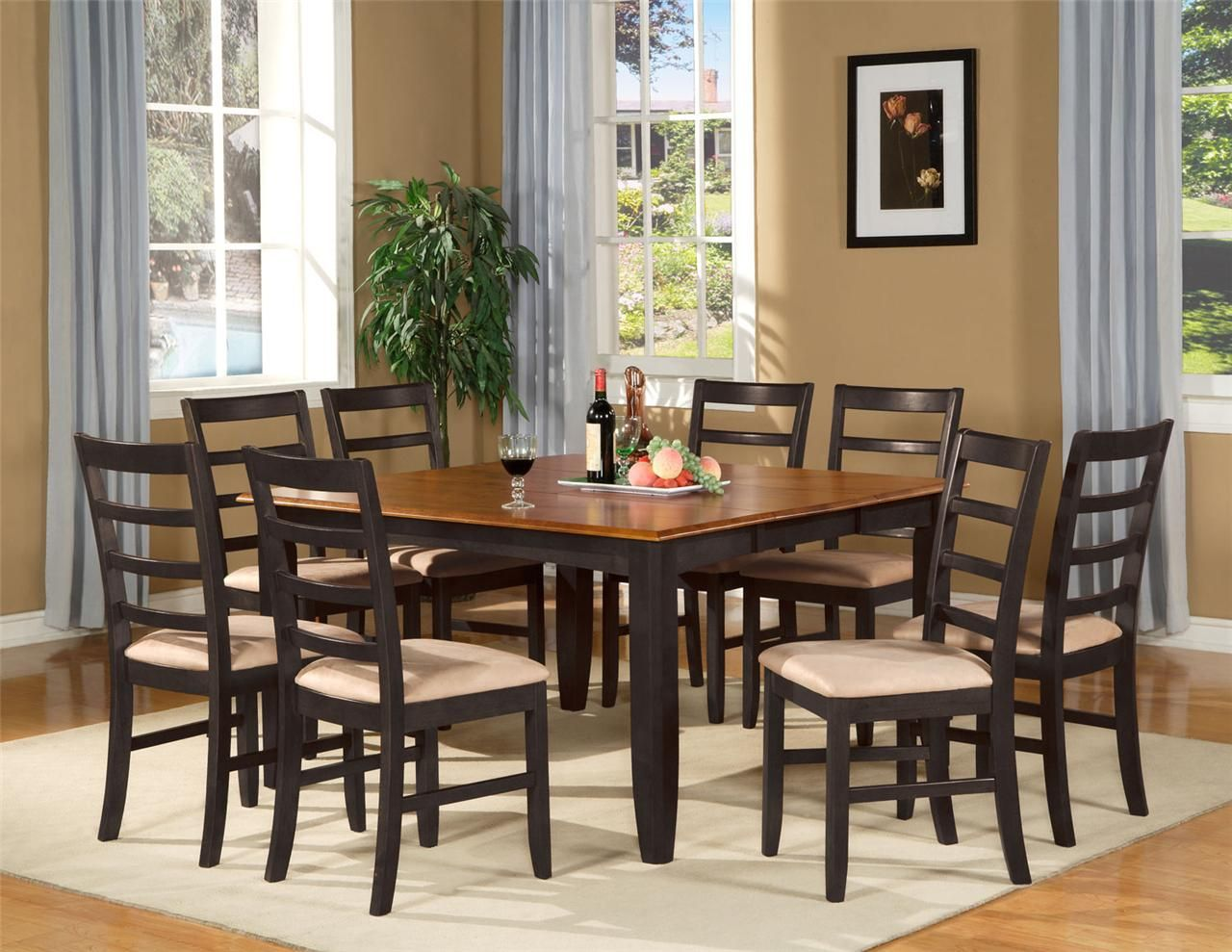 9 pc square dinette dining room table set and 8 chairs | dining