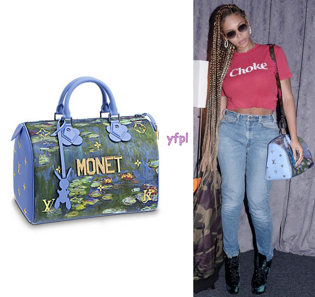 1d3e65be1f06 Beyoncé carrying LOUIS VUITTON Monet in Masters LV x Koons Speedy 30  Handbag ( 2