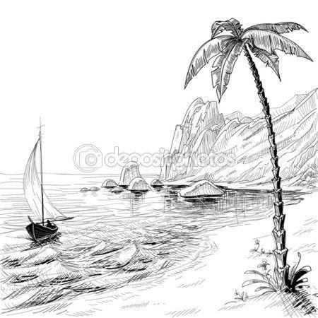 Deniz beach, tekne ve palmiye ağacı vektör çizimi — Stok