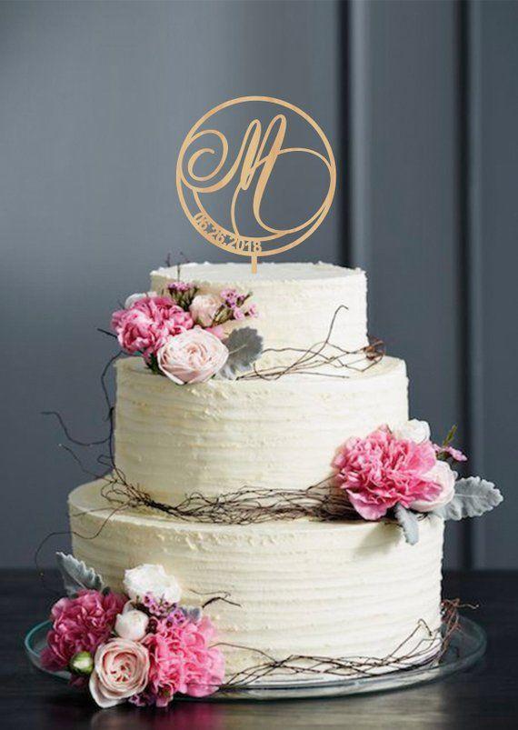 Letter M Cake Topper, Single Letter Cake Topper, Initial Wedding