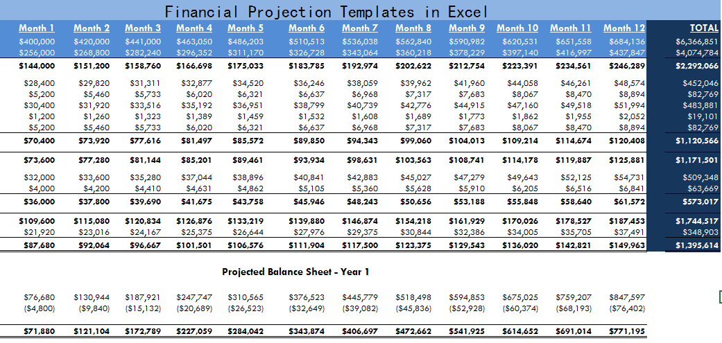 Financial Projection Templates In Excel  Exceltemple  Excel