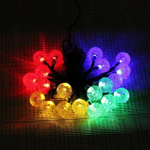 Ldex Solar Powered 5M 30 LED String Fairy Lights bubble Ball Globe