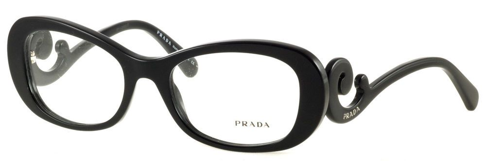 0b51af9a8b76 NEW PRADA BLACK PLASTIC BLACK RX EYEGLASSES WOMEN VPR09P 1AB-1O1 54-19-135  ITALY  Prada