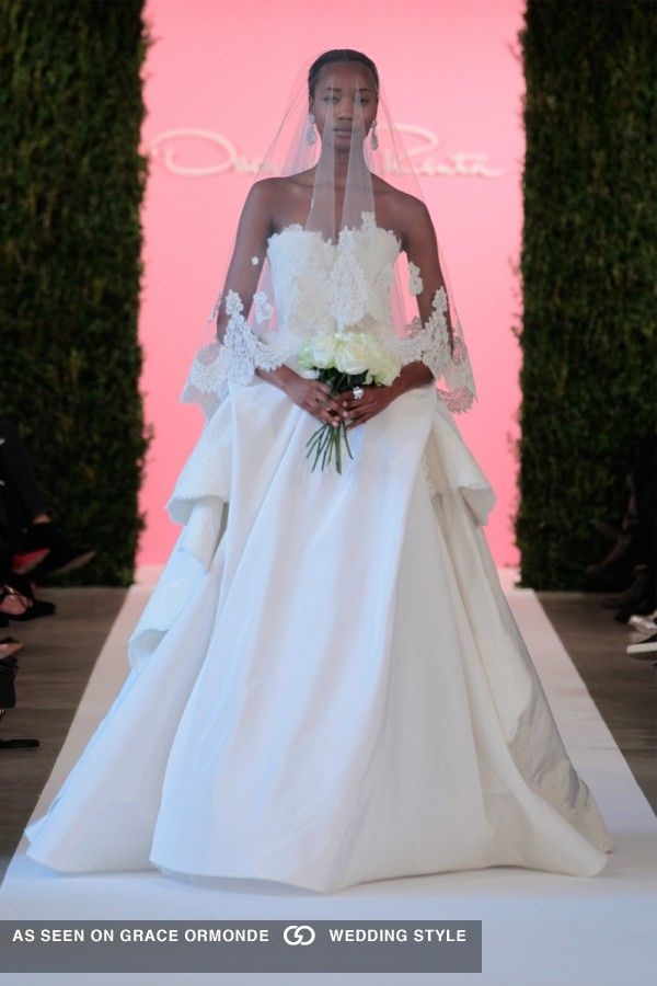oscar de la renta spring 2015 strapless wedding gown with veil