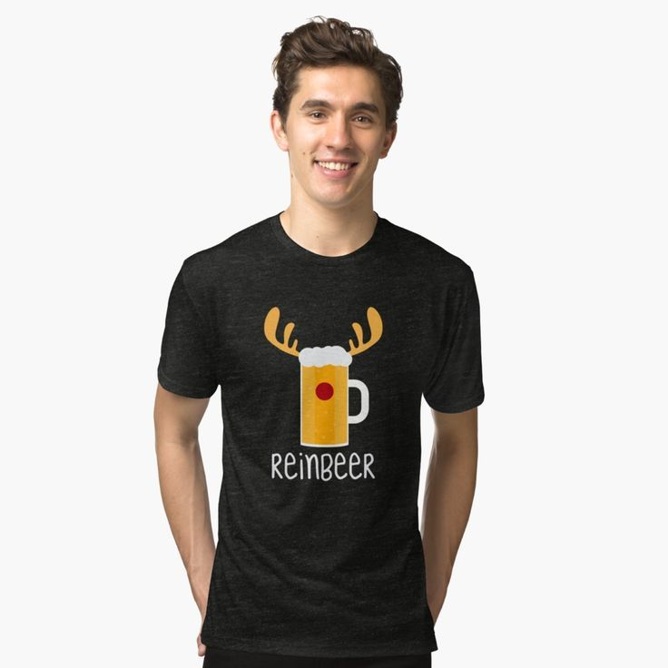 Reinbeer Reindeer Beer Christmas Drinking Holiday T Shirt Tri-blend ...
