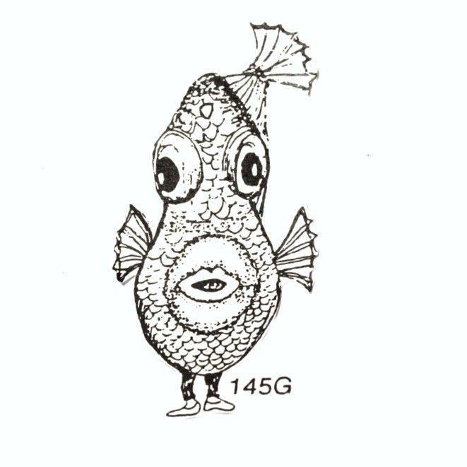 Fish Rubber Stamp with Feet (unmounted). $4.00, via Etsy