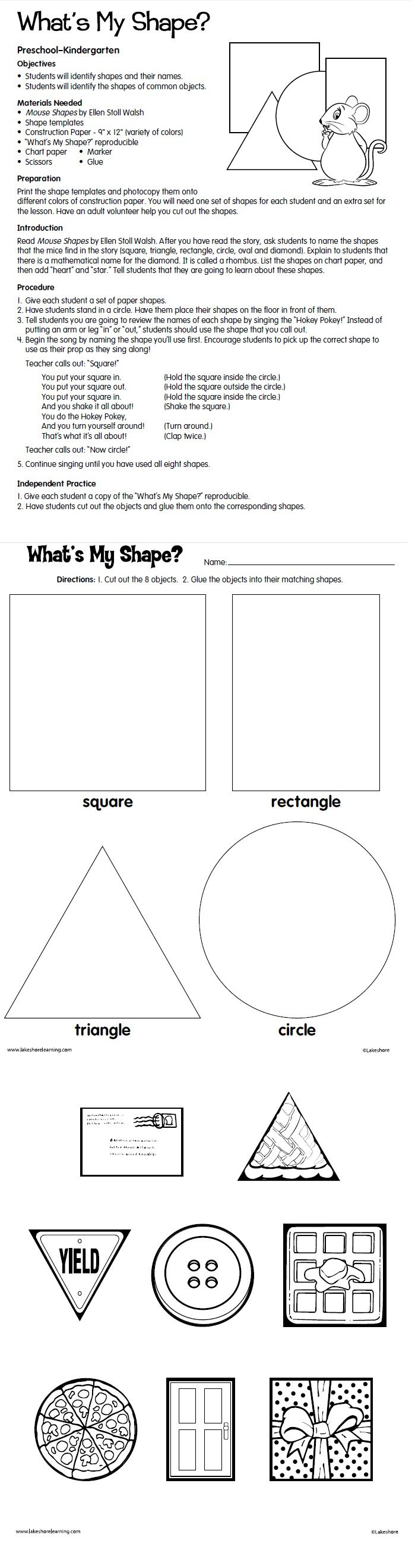 What S My Shape Lesson Plan From Lakeshore Learning Kindergarten Math Lesson Plans Kindergarten Geometry Lessons Shapes Lessons