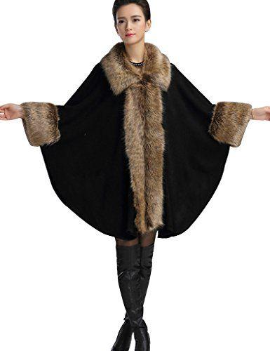 abc06ced9b9e8 Aphratti Women s Wool Scarf Shawl Cape Coat with Luxury Faux Fox Fur Collar