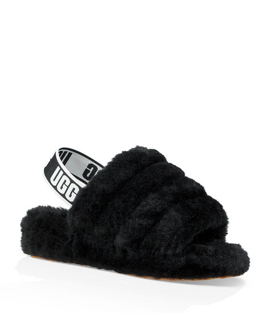 01e01b0cb96 UGG® Logo Fluff Yeah Slides in 2019 | Shoes | Ugg sandals, Black ugg ...