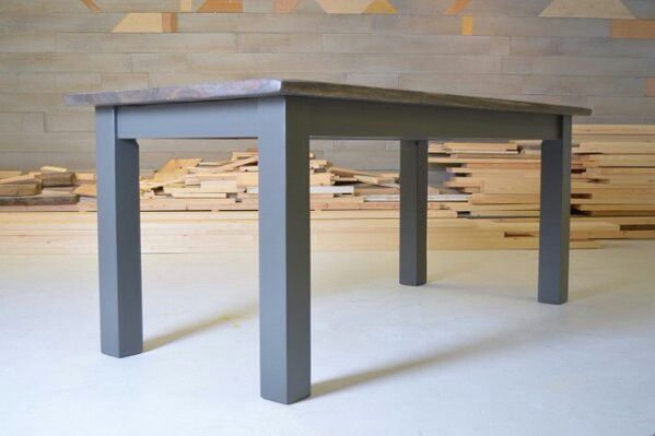Handmade Dining Table   Driftwood Top / Slate Grey Base