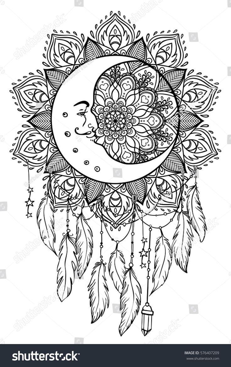 Hand Drawn Native American Indian Talisman Dreamcatcher With Feathers Moon Vec Mandala Zum Ausdrucken Wenn Du Mal Buch Kostenlose Erwachsenen Malvorlagen