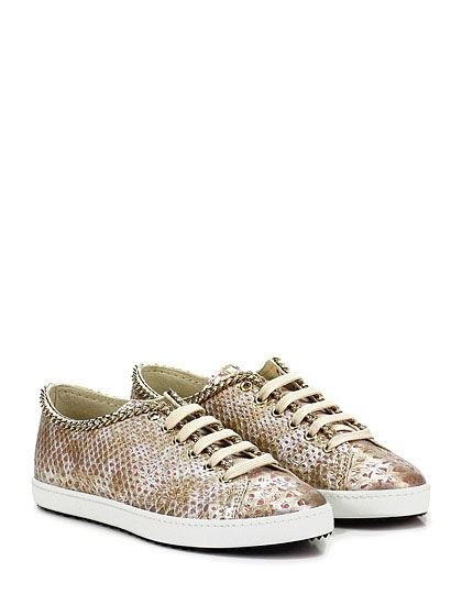 37381dfce6 STOKTON - Sneakers - Donna - Sneaker in pelle effetto pitone con catena su  profilo e