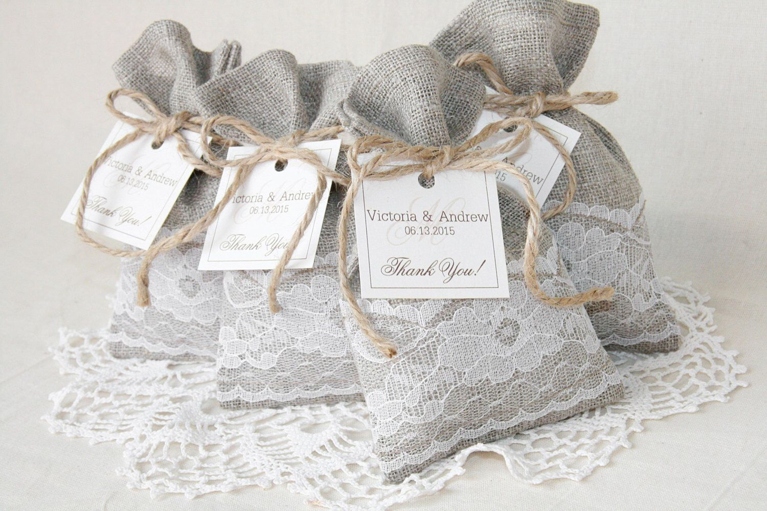 Rustic wedding Bags, Personalized Linen Favor Bags, Wedding Gift Bag ...