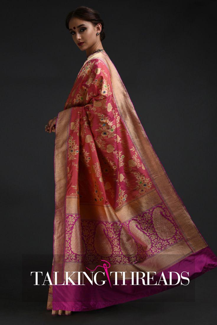 d5a96cb152 Pink Shot Banarasi Meenakari Zari Handwoven Pure Silk Saree ...