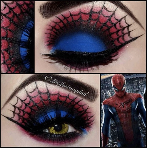 Spiderman look by the amazingly talented Luciferismydad using Sugarpill Love+ red eyeshadow & Urban Decay Chaos. This lady has some seri...