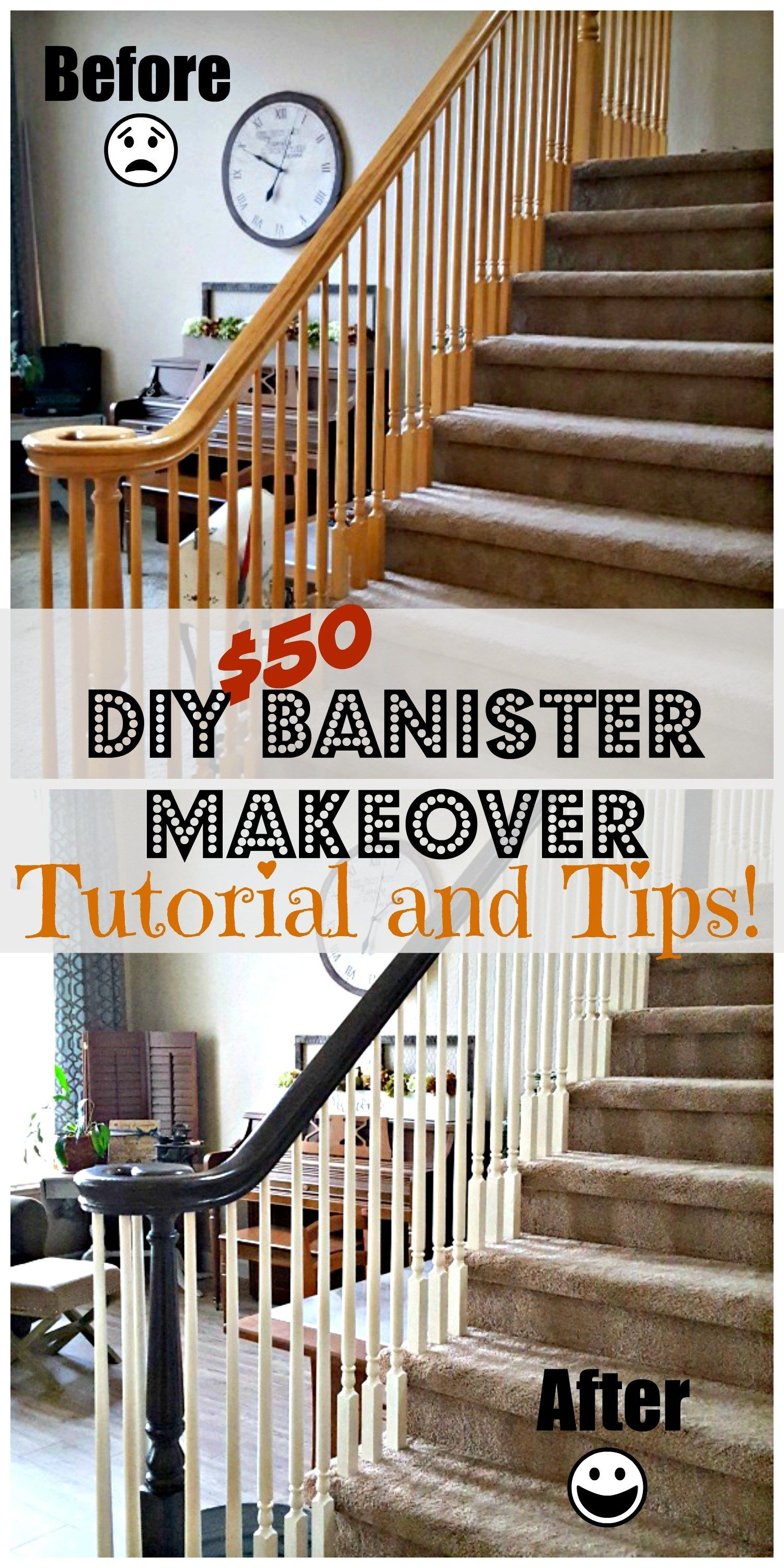 I Love This Look Redoing An Oak Banister Into A Brown And White