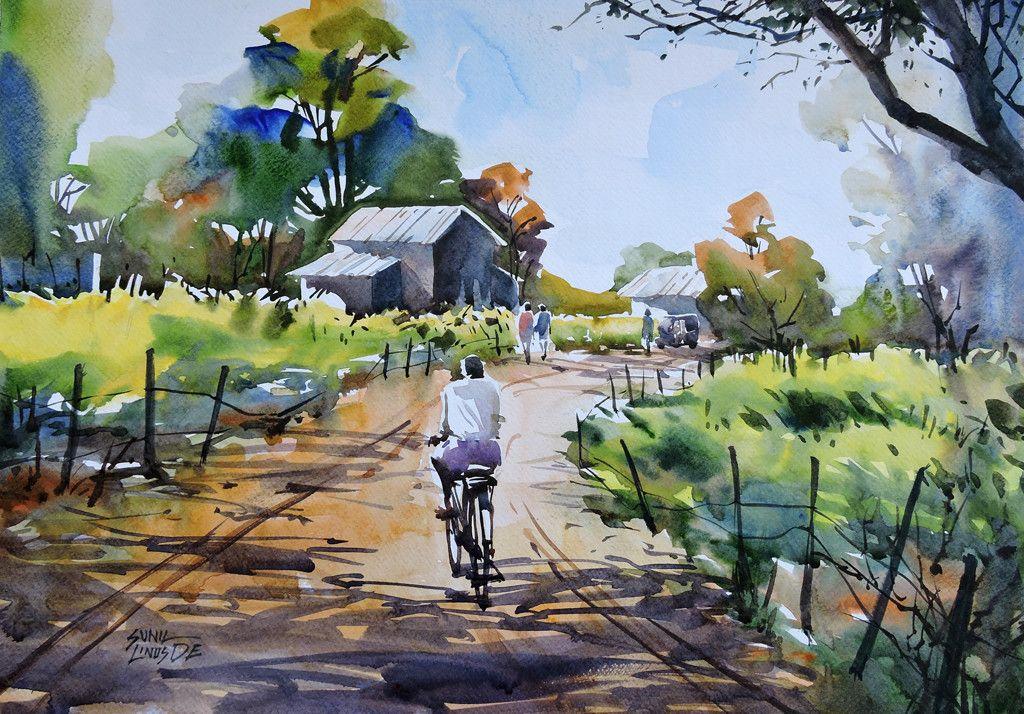 Village Artwork Watercolor Landscape Paintings Watercolor