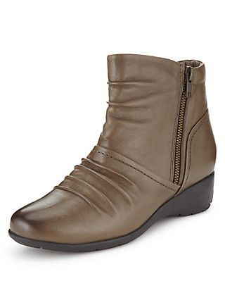 Leather Ruched Ankle Boots   M&S