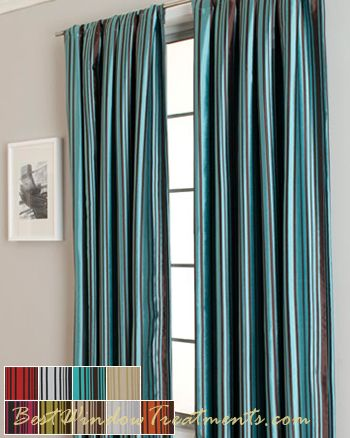 Teal Striped Curtains - Rooms