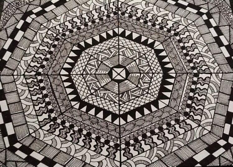 My zentangle art. By Linda Hallett