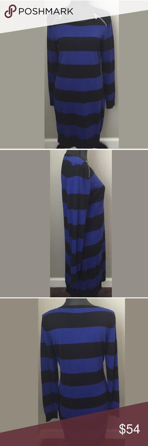 "Michael Kors size medium Knit sweater dress New with tags Michael Kors size medium Knit sweater dress. Long sleeve, knee length, zipper detail at shoulders, Lightweight, soft. Cotton/nylon/Rayon. Blue and Black stripe. Bust 18"" armpit to armpit. Waist 16"" side to side. Hips 18"" side to side.Length 36"" shoulder to hem. Sleeve 26"" Measurements are approximate. MSRP $130 Michael Kors Dresses"