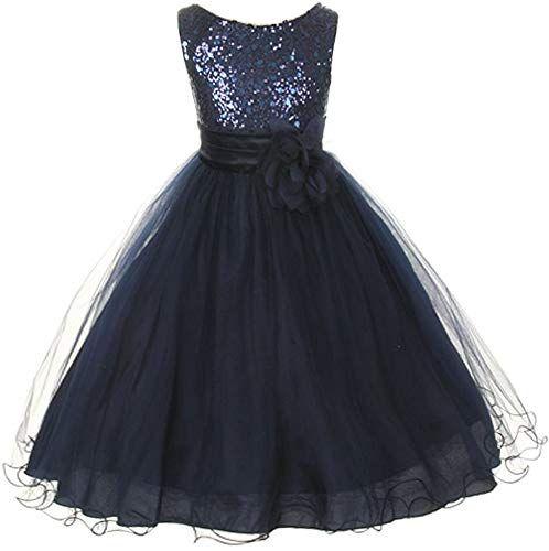 889e6e4aba39b New Kids Dream Girls 12 Navy Sequin Double Mesh Flower Girl Dress ...
