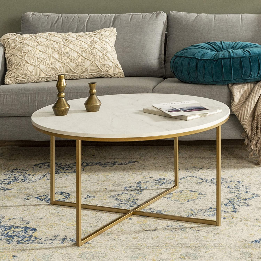 We Furniture 91cm Round Mid Century Modern Coffee Table With X Base For Living Room Office Decoration Metal Glass Gold Faux Marble Amazon Co Uk Kitchen Ghế [ 1000 x 1000 Pixel ]