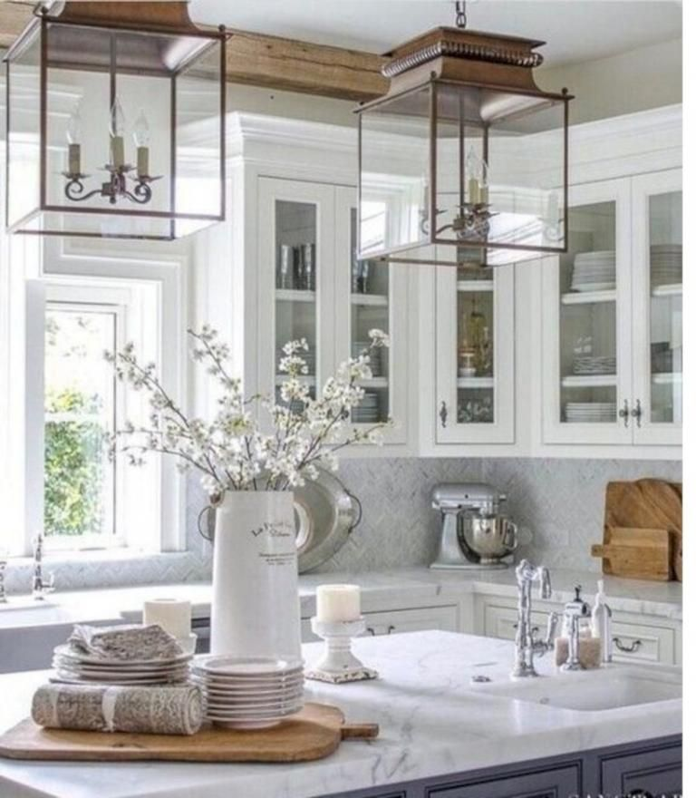 simple winter kitchen ideas with rustic style farmhouse kitchen decor glass kitchen cabinets on kitchen decor themes rustic id=85820