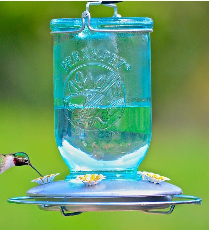 Antique Mason Jar Hummingbird Feeder in Blue Hummer