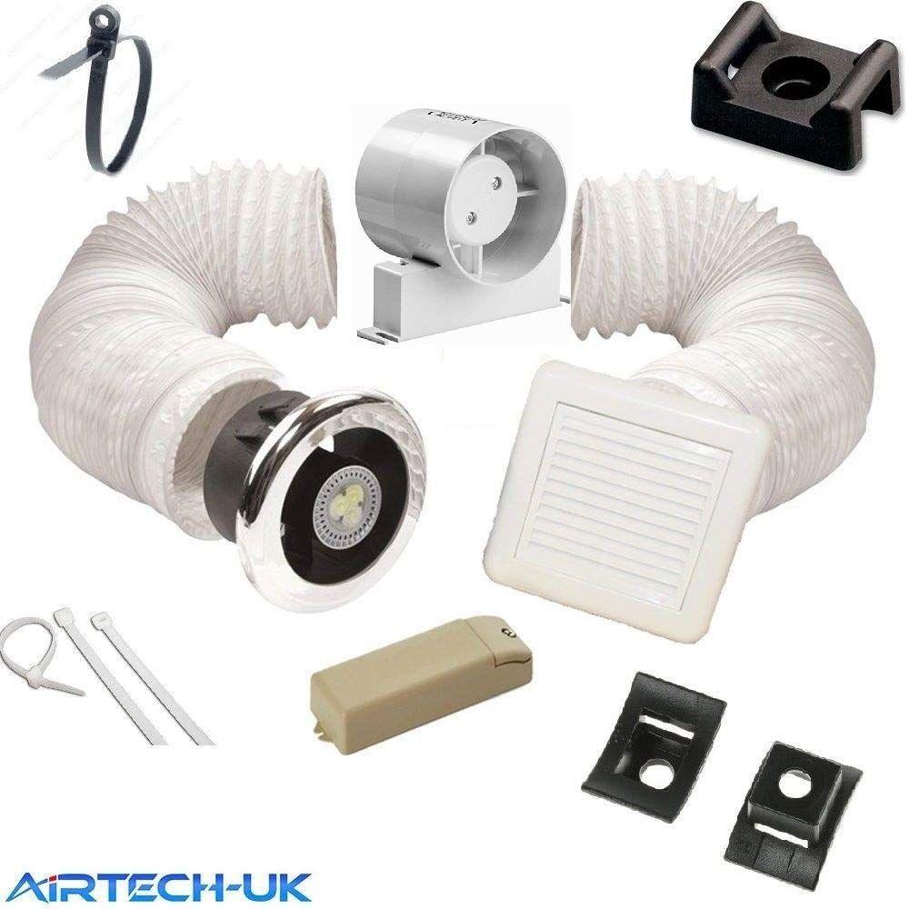Inline Shower Wet Extractor Fan Kit Light 4 Shower Extractor Fan Extractor Fans Bathroom Fan Light