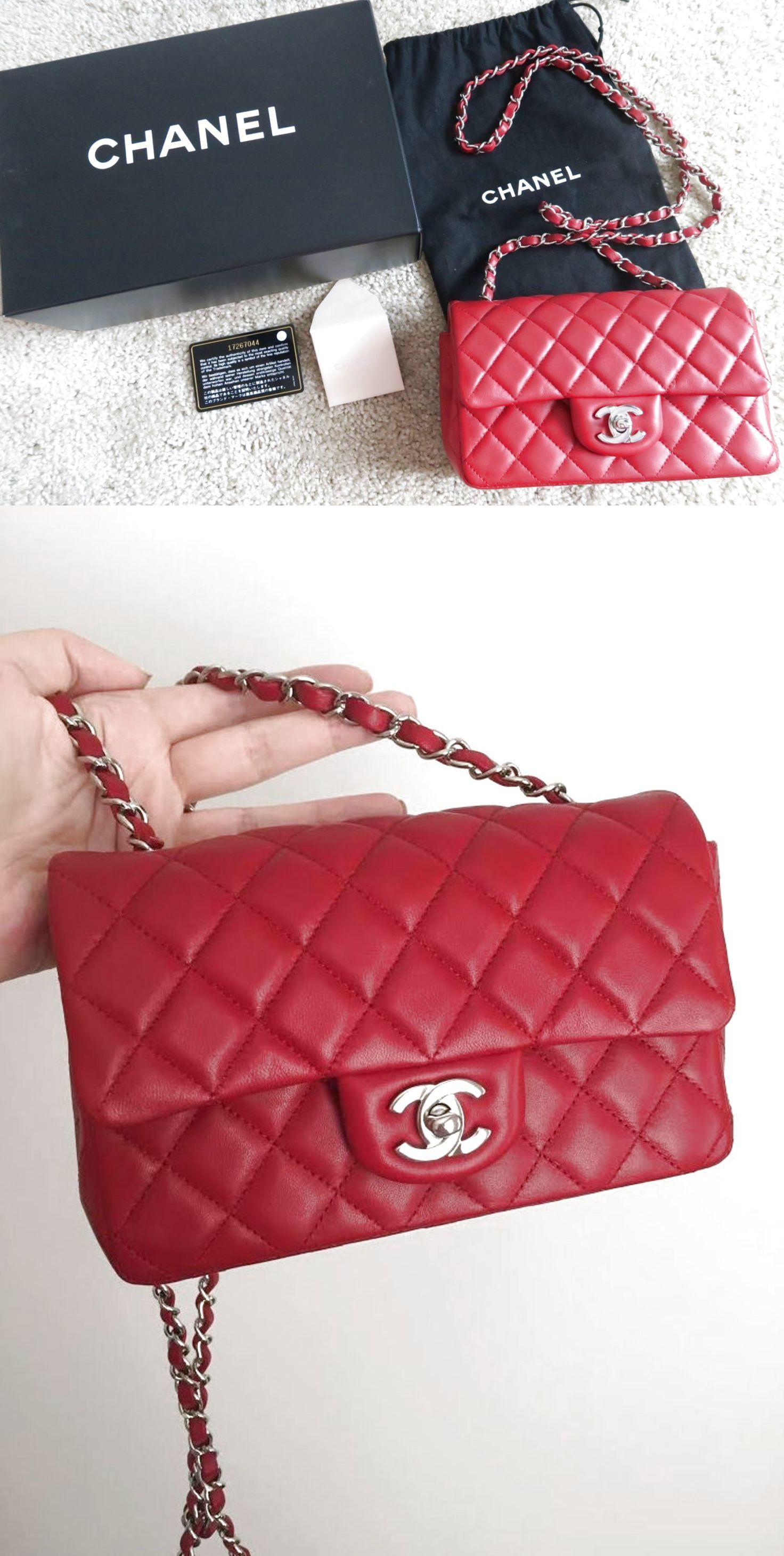e02b28602502 CHANEL Red Lambskin Classic Mini Flap Bag! Rectangle Silver Chain! SOLD OUT  Auth $3000.0