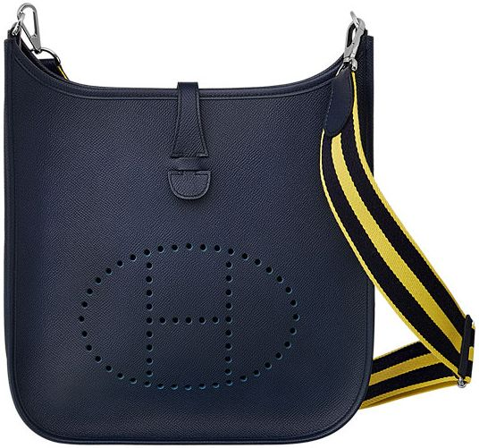 5ea2303e5462 Hermes Evelyne III Bag with Striped Shoulder Strap