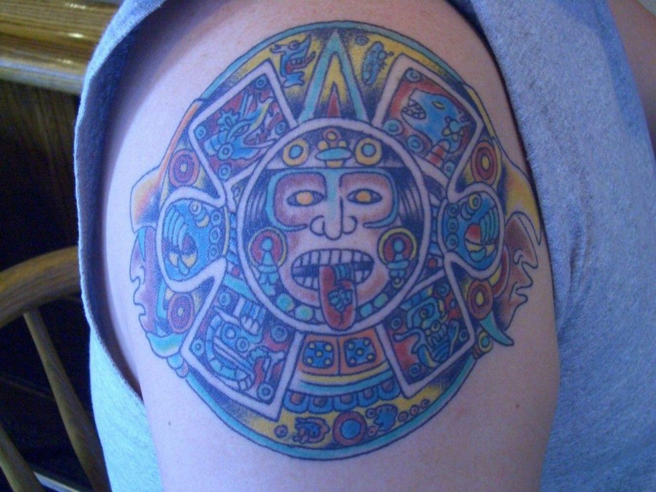 Color Ink Aztec Calendar Tattoo Design Http Tattooswall Com