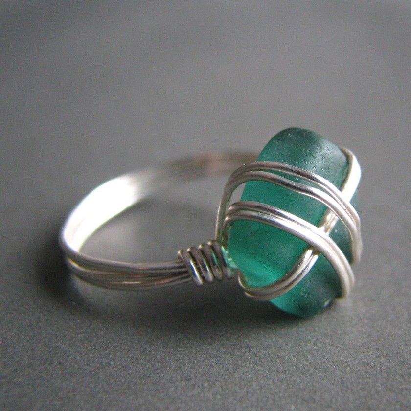 Seaglass ring - wire wrapped - teal genuine sea glass (size 9). $32.00, via Etsy.
